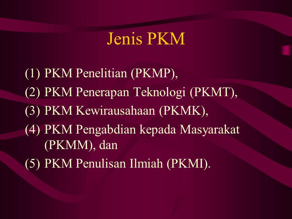 Jenis PKM (1)PKM Penelitian (PKMP), (2)PKM Penerapan Teknologi (PKMT), (3)PKM Kewirausahaan (PKMK), (4)PKM Pengabdian kepada Masyarakat (PKMM), dan (5