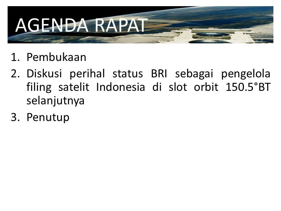 1.Pembukaan 2.Diskusi perihal status BRI sebagai pengelola filing satelit Indonesia di slot orbit 150.5°BT selanjutnya 3.Penutup AGENDA RAPAT