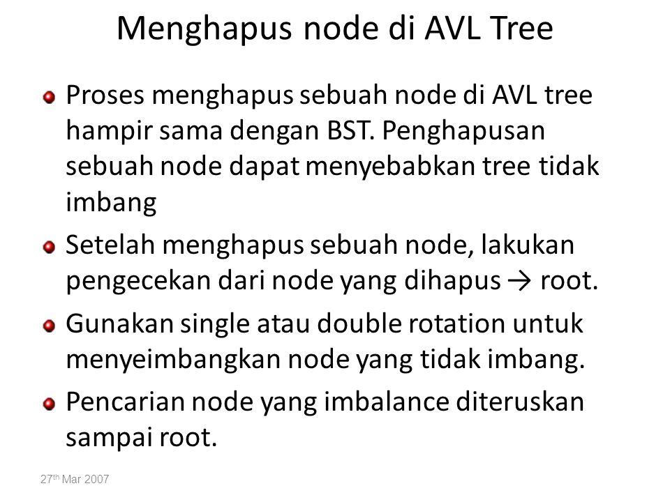 Menghapus node di AVL Tree Proses menghapus sebuah node di AVL tree hampir sama dengan BST. Penghapusan sebuah node dapat menyebabkan tree tidak imban