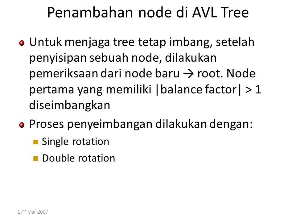 Penambahan node di AVL Tree Untuk menjaga tree tetap imbang, setelah penyisipan sebuah node, dilakukan pemeriksaan dari node baru → root. Node pertama