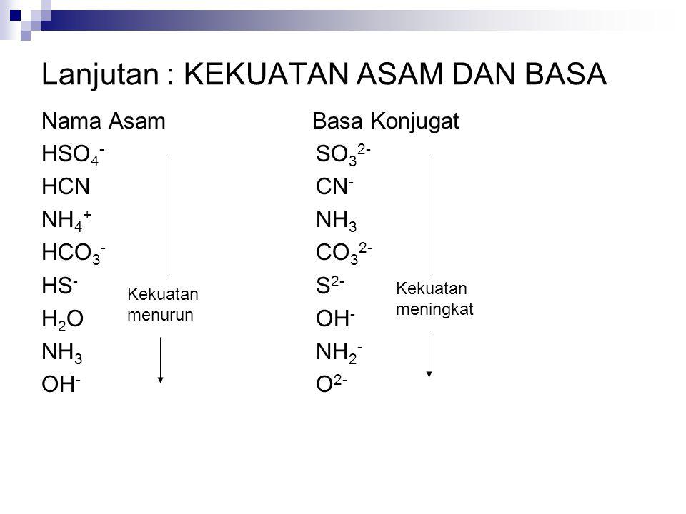 Nama Asam Basa Konjugat HSO 4 - SO 3 2- HCN CN - NH 4 + NH 3 HCO 3 - CO 3 2- HS - S 2- H 2 O OH - NH 3 NH 2 - OH - O 2- Lanjutan : KEKUATAN ASAM DAN B