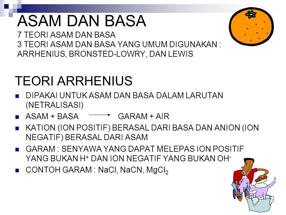 Asam Arrhenius : senyawa penghasil H + (H 3 O + ) dalam air Basa Arrhenius : senyawa OH - dalam air