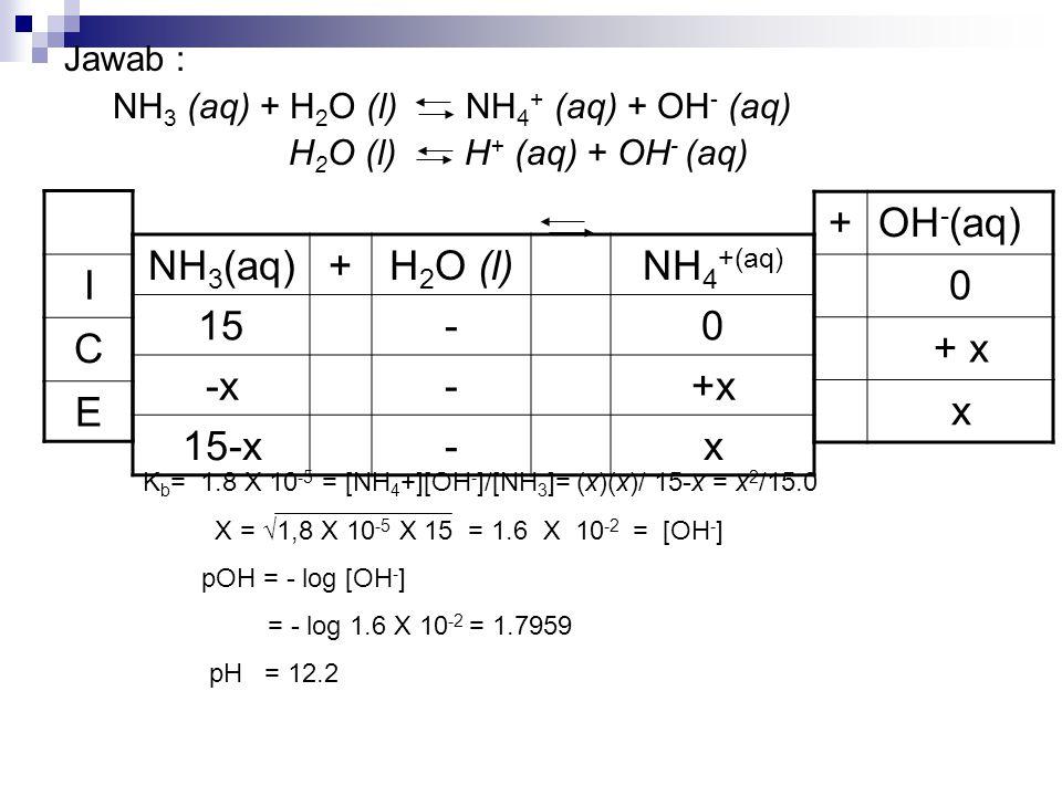 Jawab : NH 3 (aq) + H 2 O (l) NH 4 + (aq) + OH - (aq) H 2 O (l) H + (aq) + OH - (aq) NH 3 (aq)+H 2 O (l)NH 4 +(aq) 15-0 -x-+x 15-x-x I C E K b = 1.8 X
