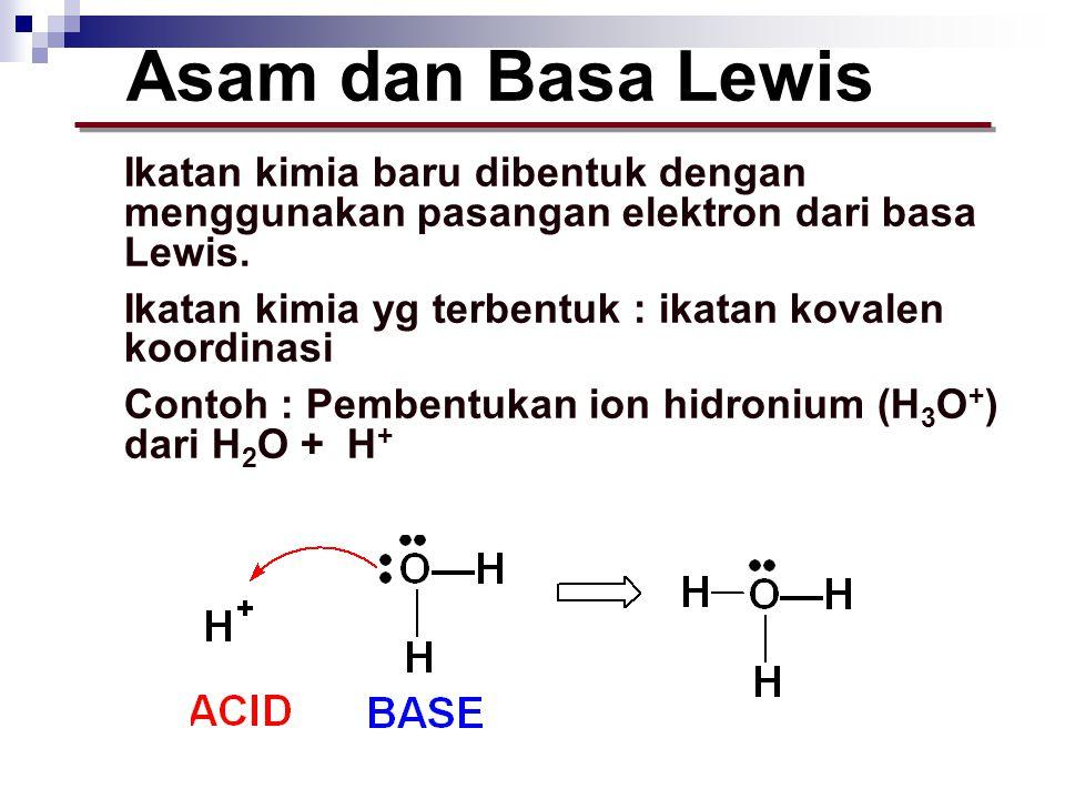Ikatan kimia baru dibentuk dengan menggunakan pasangan elektron dari basa Lewis. Ikatan kimia yg terbentuk : ikatan kovalen koordinasi Contoh : Pemben