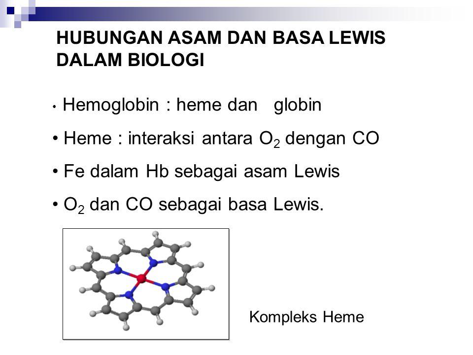 HUBUNGAN ASAM DAN BASA LEWIS DALAM BIOLOGI Hemoglobin : heme dan globin Heme : interaksi antara O 2 dengan CO Fe dalam Hb sebagai asam Lewis O 2 dan C