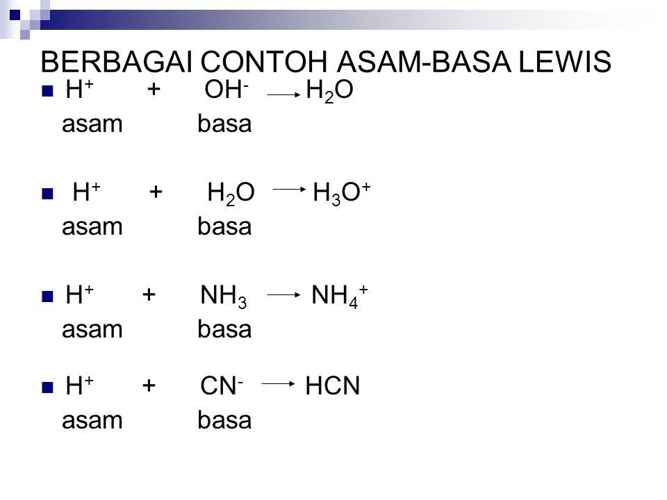 BERBAGAI CONTOH ASAM-BASA LEWIS H + + OH - H 2 O asam basa H + + H 2 O H 3 O + asam basa H + + NH 3 NH 4 + asam basa H + + CN - HCN asam basa