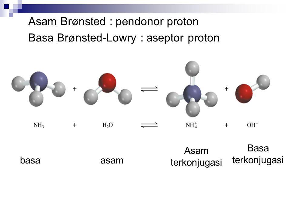 KESETIMBANGAN PADA ASAM DISSOSIASI ASAM LEMAH TIDAK SEMPURNA CONTOH : Berapa pH larutan 1 M HF, diketahui Ka = 7,2 x 10 -4 Jawab : HF (aq) H + (aq) + F - (aq) Ka= 7,2 x10 -4 H2O (l) H + (aq) + OH - (aq) Kw= 1,0 x10 -14 ICE TABLE HFH+H+ +F 100 -x+x 1-xxx I C E HF = 1 –x, karena x dianggap kecil, maka HF = 1 Jadi : Ka = 7.2 x 10 -4 = x 2 x = 0.00268 = [H + ] pH = - log [H + ] pH = - log 0.00268 pH = 2.57 Ka = x2x2 1- x