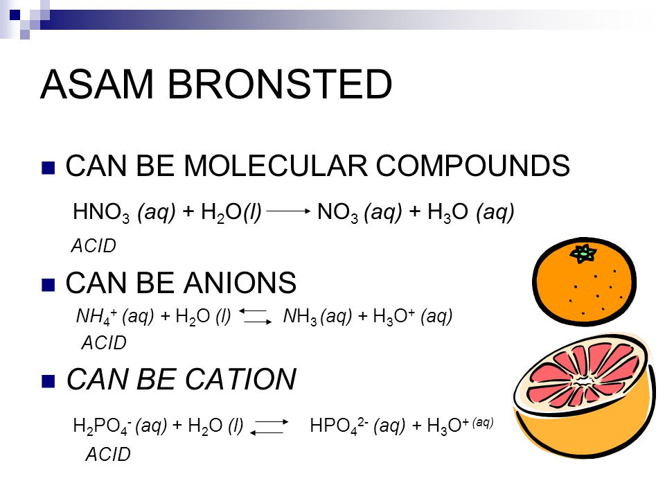 ASAM BRONSTED CAN BE MOLECULAR COMPOUNDS HNO 3 (aq) + H 2 O(l) NO 3 (aq) + H 3 O (aq) ACID CAN BE ANIONS NH 4 + (aq) + H 2 O (l) NH 3 (aq) + H 3 O + (