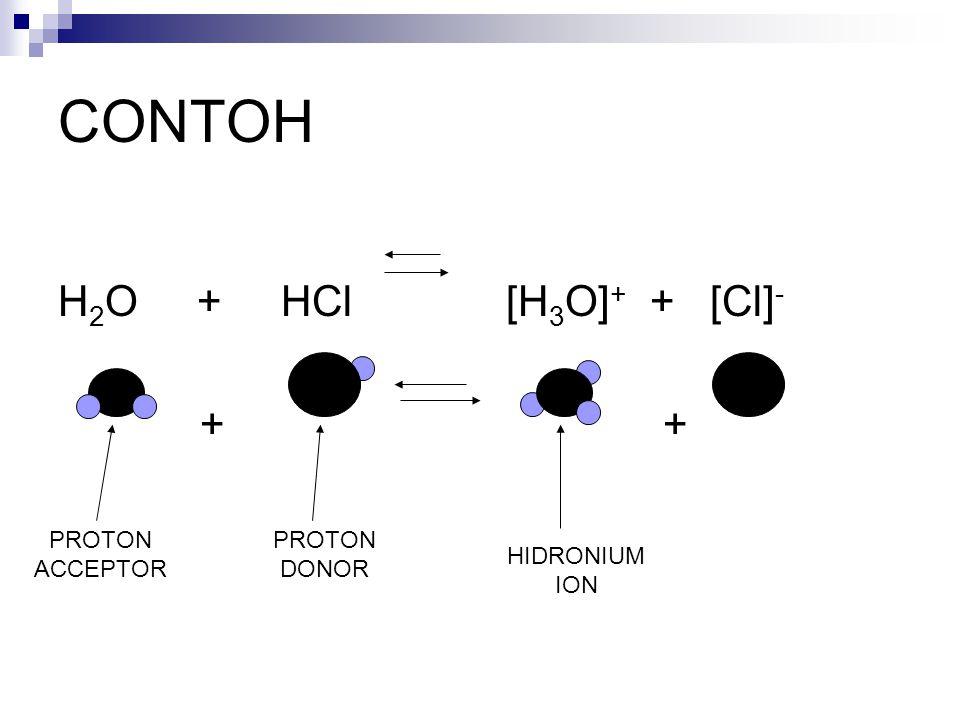 CONTOH H 2 O + HCl [H 3 O] + + [Cl] - + + PROTON ACCEPTOR PROTON DONOR HIDRONIUM ION