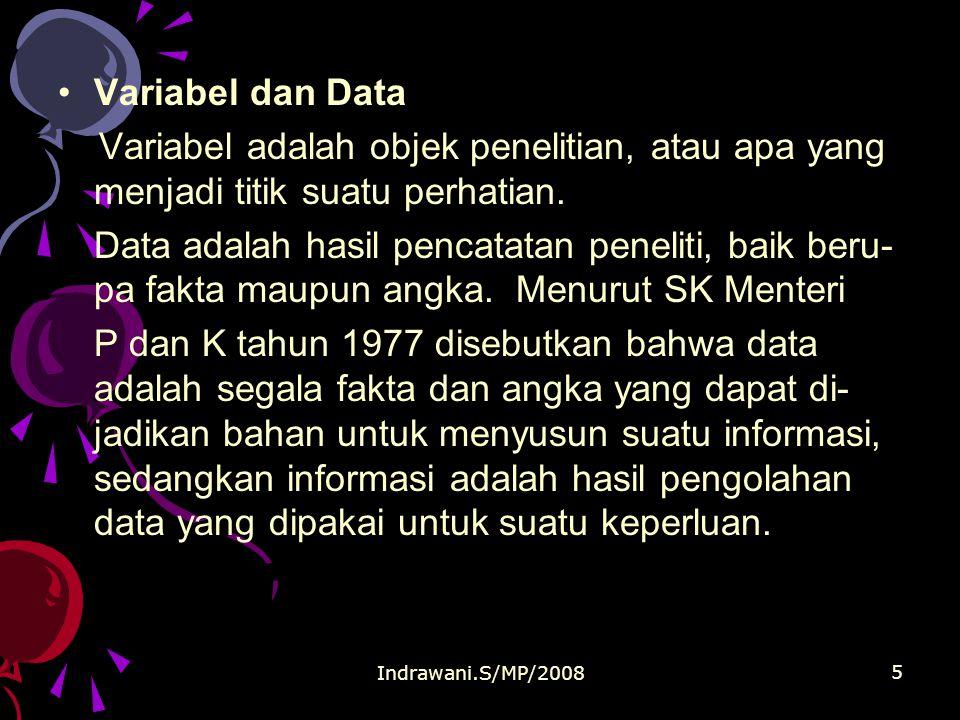 Indrawani.S/MP/2008 5 Variabel dan Data Variabel adalah objek penelitian, atau apa yang menjadi titik suatu perhatian.