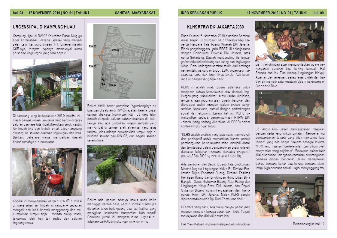 KLHS RTRW DKI JAKARTA 2030 Pada Selasa/16 November 2010 diadakan Seminar Awal Kajian Lingkungan Hidup Strategis bagi Ra- perda Rencana Tata Ruang Wila