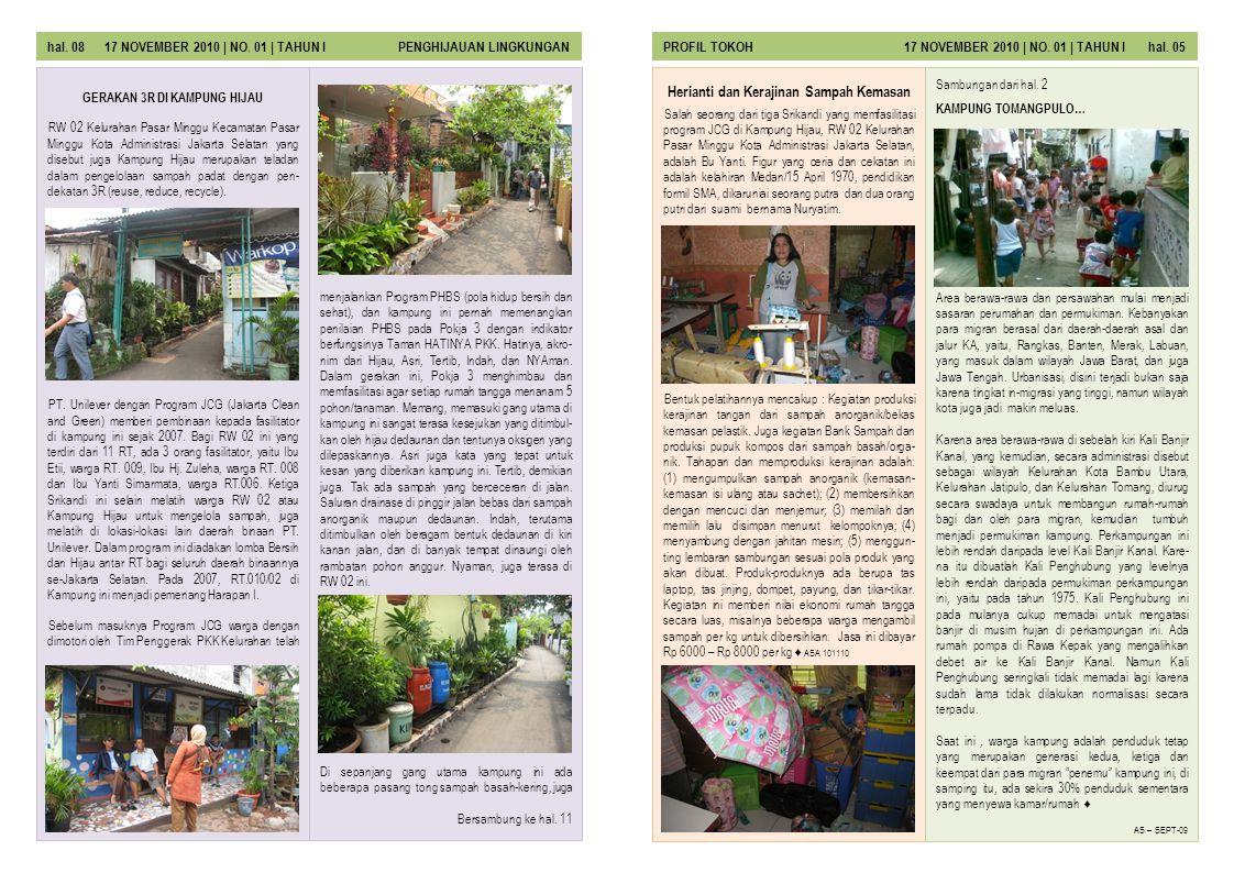 Salah seorang dari tiga Srikandi yang memfasilitasi program JCG di Kampung Hijau, RW 02 Kelurahan Pasar Minggu Kota Administrasi Jakarta Selatan, adal