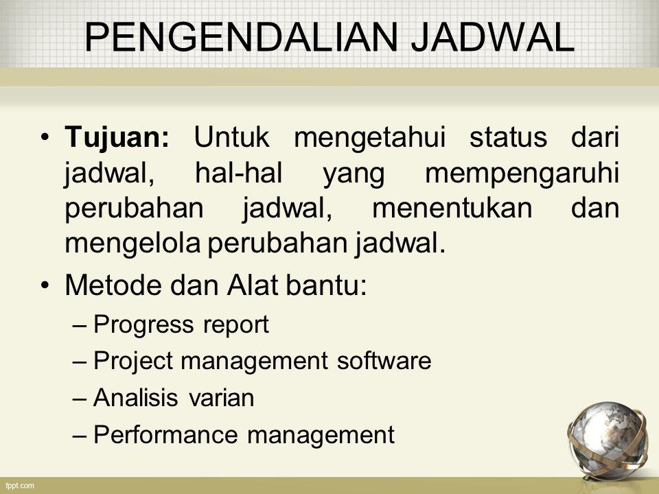PENGENDALIAN JADWAL Tujuan: Untuk mengetahui status dari jadwal, hal-hal yang mempengaruhi perubahan jadwal, menentukan dan mengelola perubahan jadwal