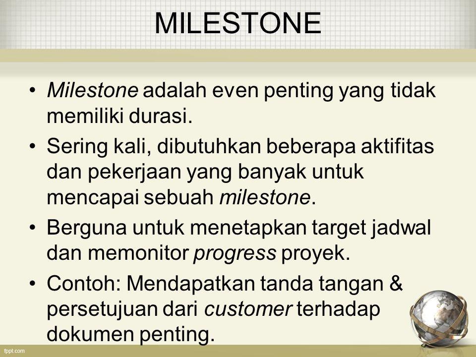MILESTONE Milestone adalah even penting yang tidak memiliki durasi. Sering kali, dibutuhkan beberapa aktifitas dan pekerjaan yang banyak untuk mencapa