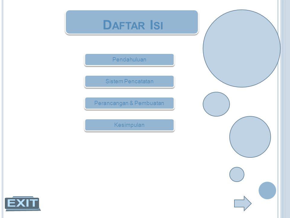 D AFTAR I SI Pendahuluan Sistem Pencatatan Perancangan & Pembuatan Kesimpulan