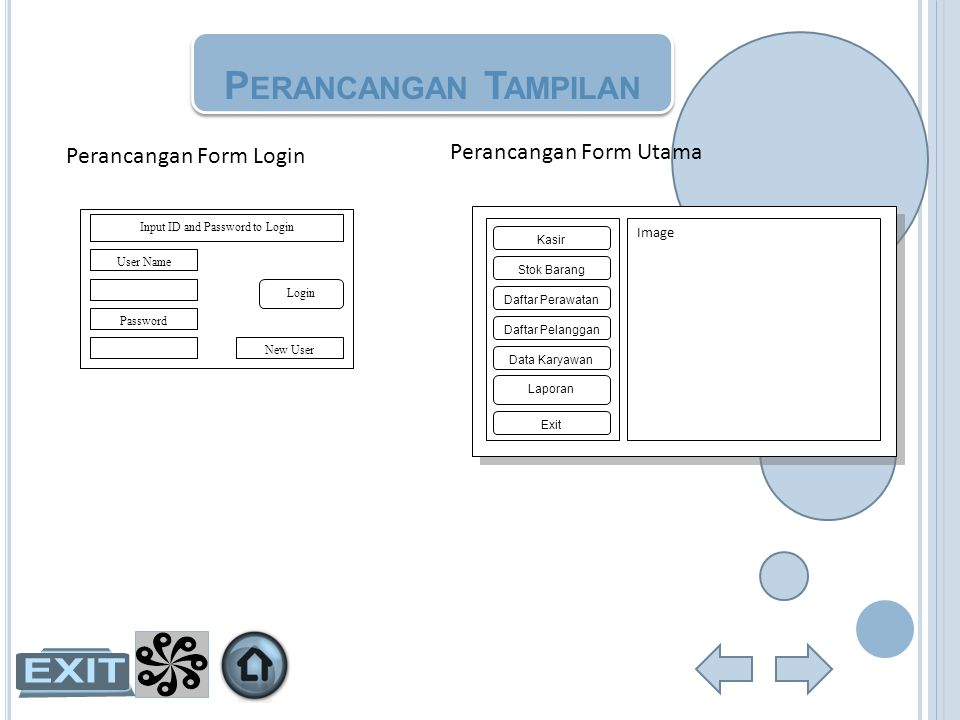 P ERANCANGAN T AMPILAN Perancangan Form Login User Name Password Input ID and Password to Login New User Login Perancangan Form Utama Kasir Stok Baran
