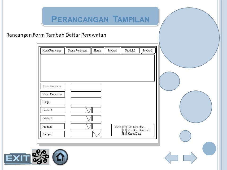 Rancangan Form Tambah Daftar Perawatan P ERANCANGAN T AMPILAN Kode PerawatanNama PerawatanHargaShampoKondisionerProduk Kode Perawatan Nama Perawatan H