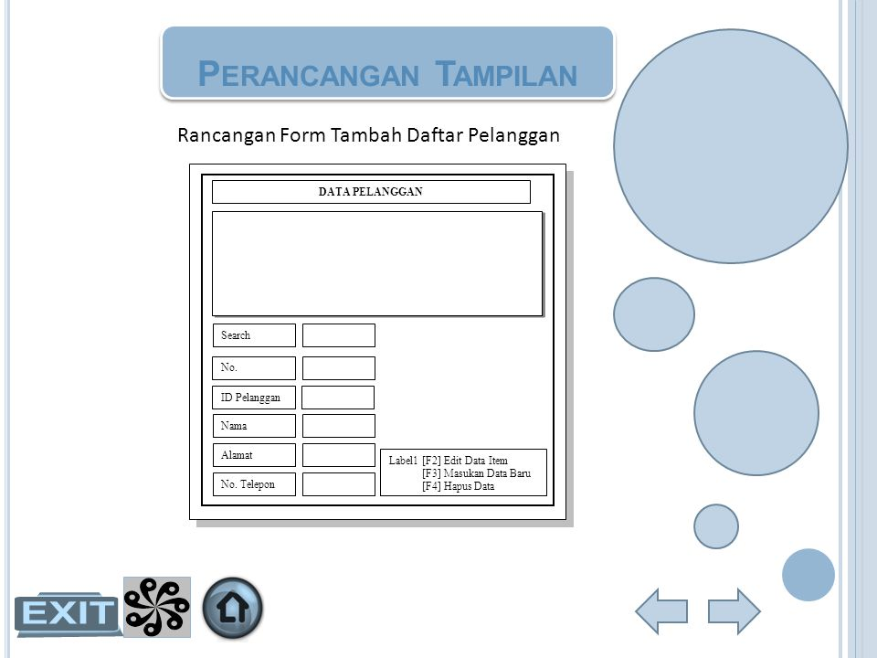 Rancangan Form Tambah Daftar Pelanggan DATA PELANGGAN Nama Alamat No. Telepon ID Pelanggan Search No. Label1 [F2] Edit Data Item [F3] Masukan Data Bar