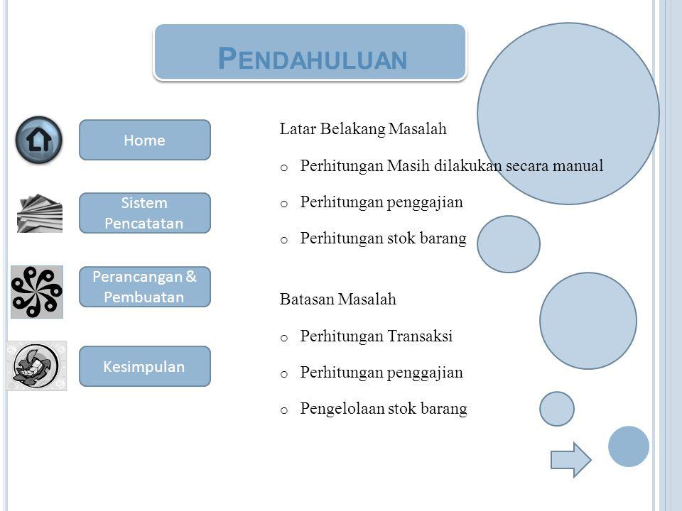 P ENDAHULUAN Latar Belakang Masalah o Perhitungan Masih dilakukan secara manual o Perhitungan penggajian o Perhitungan stok barang Batasan Masalah o P