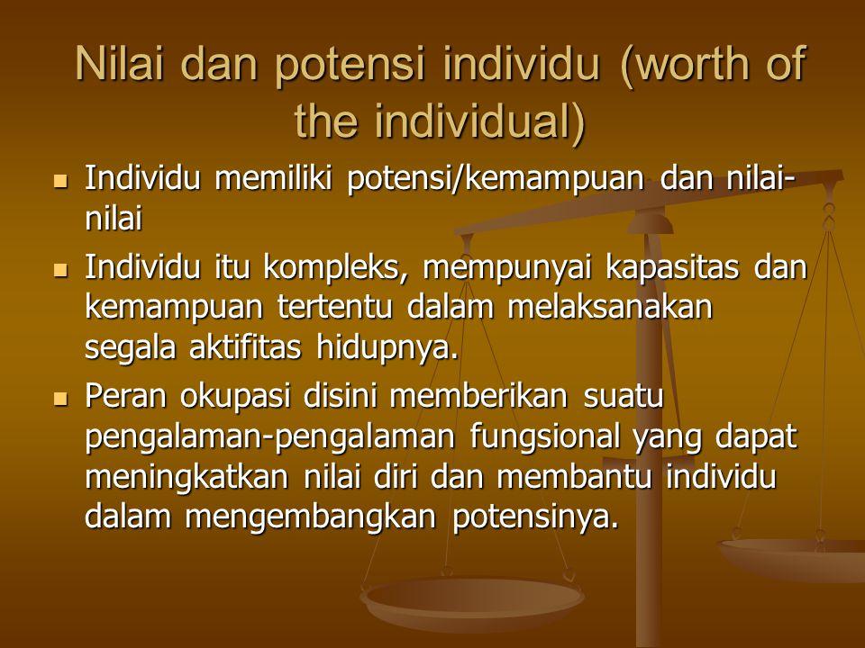 Nilai dan potensi individu (worth of the individual) Individu memiliki potensi/kemampuan dan nilai- nilai Individu memiliki potensi/kemampuan dan nilai- nilai Individu itu kompleks, mempunyai kapasitas dan kemampuan tertentu dalam melaksanakan segala aktifitas hidupnya.