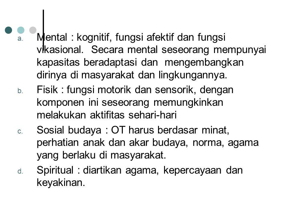 a.Mental : kognitif, fungsi afektif dan fungsi vikasional.