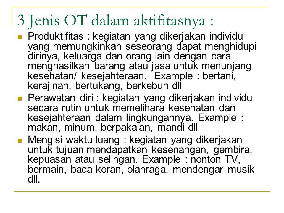 3 Jenis OT dalam aktifitasnya : Produktifitas : kegiatan yang dikerjakan individu yang memungkinkan seseorang dapat menghidupi dirinya, keluarga dan orang lain dengan cara menghasilkan barang atau jasa untuk menunjang kesehatan/ kesejahteraan.