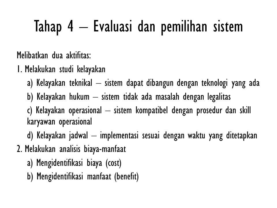 Tahap 4 – Evaluasi dan pemilihan sistem Melibatkan dua aktifitas: 1.