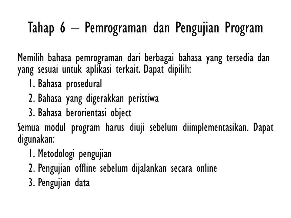 Tahap 6 – Pemrograman dan Pengujian Program Memilih bahasa pemrograman dari berbagai bahasa yang tersedia dan yang sesuai untuk aplikasi terkait. Dapa