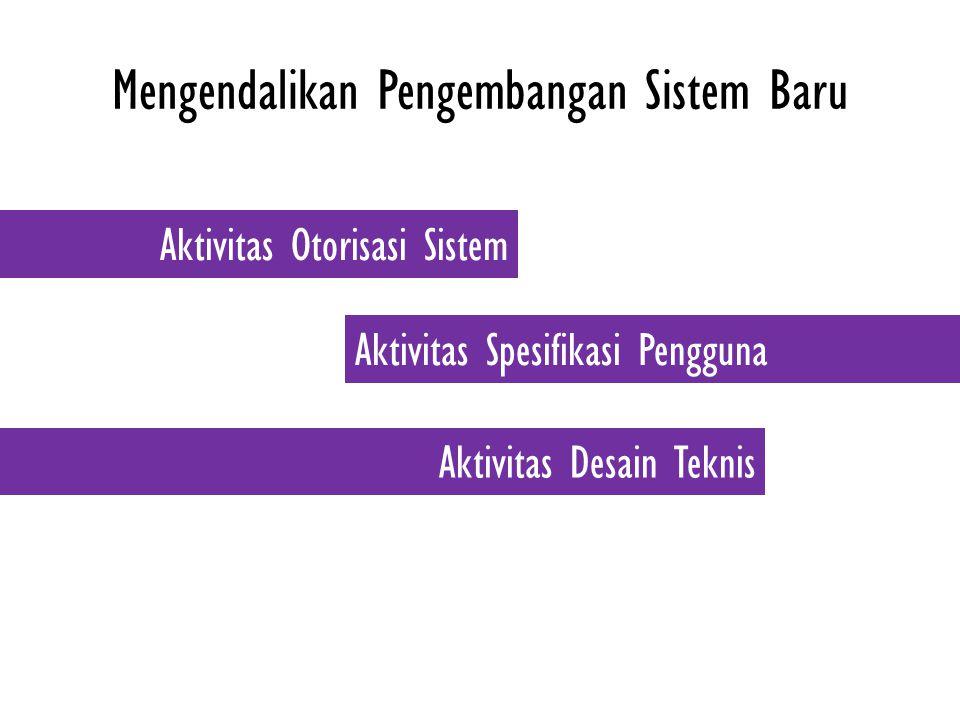 Mengendalikan Pengembangan Sistem Baru Aktivitas Otorisasi Sistem Aktivitas Spesifikasi Pengguna Aktivitas Desain Teknis