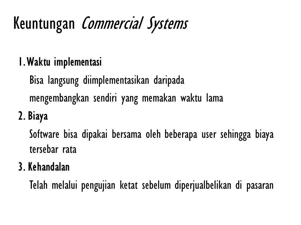 Keuntungan Commercial Systems 1. Waktu implementasi Bisa langsung diimplementasikan daripada mengembangkan sendiri yang memakan waktu lama 2. Biaya So