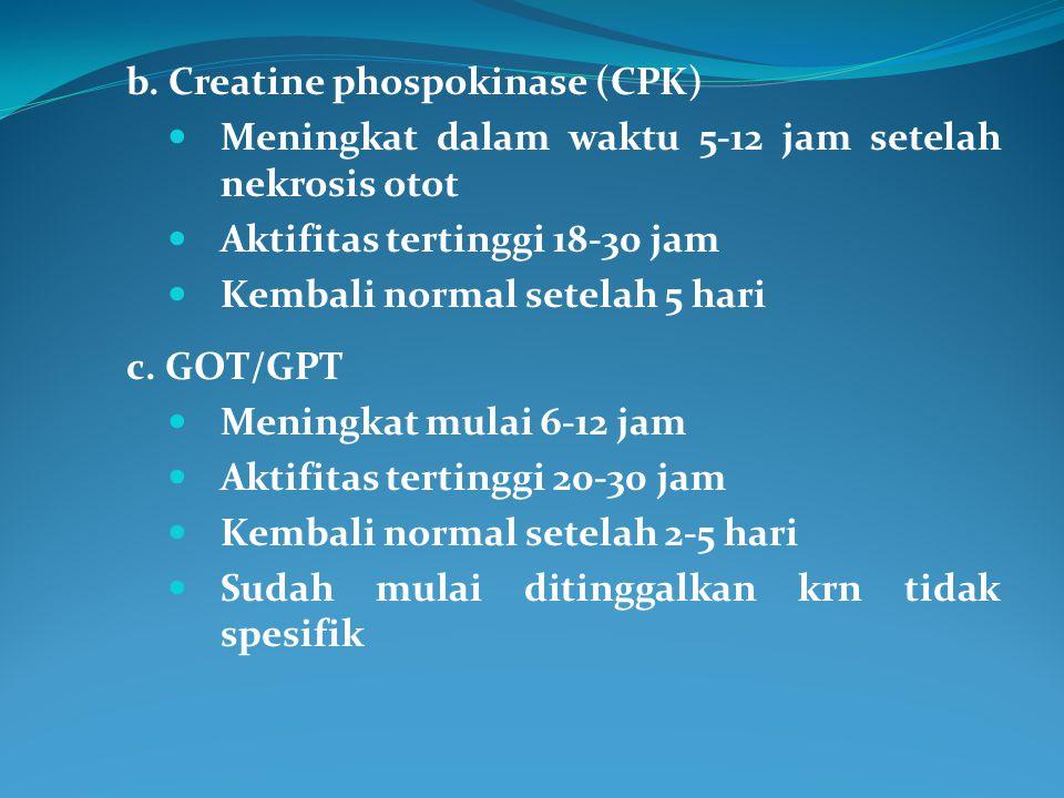 b. Creatine phospokinase (CPK) Meningkat dalam waktu 5-12 jam setelah nekrosis otot Aktifitas tertinggi 18-30 jam Kembali normal setelah 5 hari c. GOT