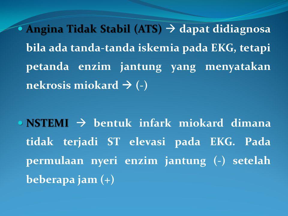 Angina Tidak Stabil (ATS) Angina Tidak Stabil (ATS)  dapat didiagnosa bila ada tanda-tanda iskemia pada EKG, tetapi petanda enzim jantung yang menyat