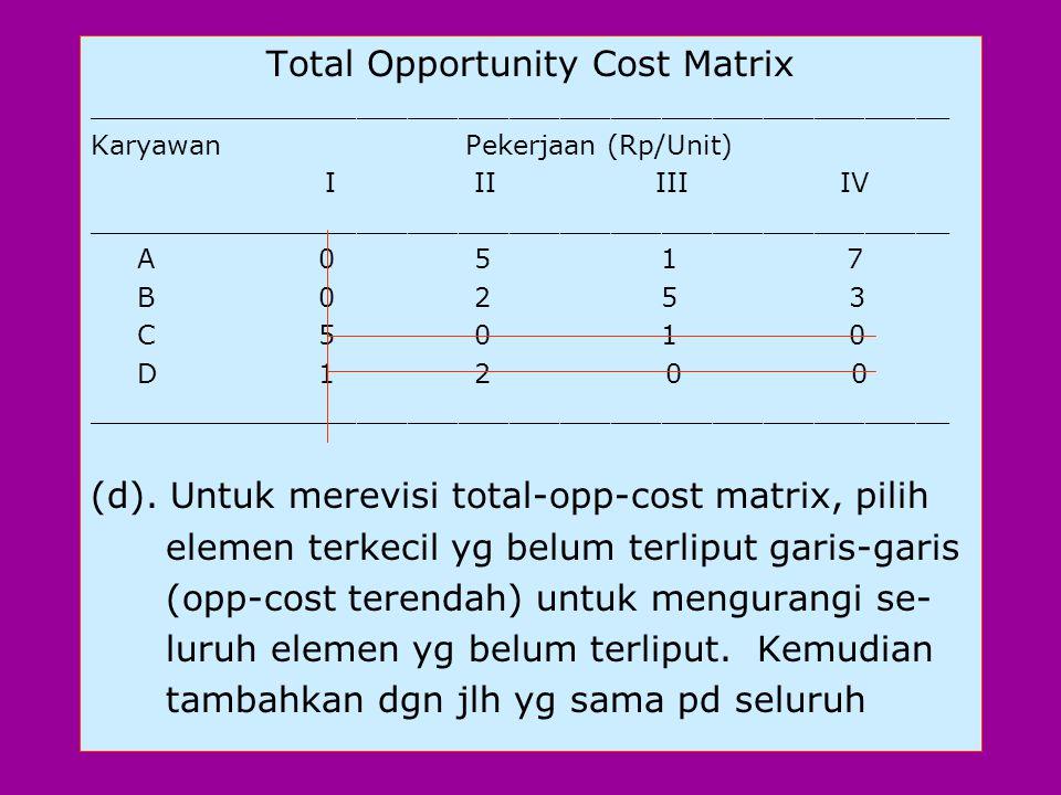 """(c). Mencari skedul penugasan dgn suatu total opportunity cost nol. Untuk mencapai penu- gasan ini dibutuhkan 4 """"independent"""" dalam matrix. Ini berart"""