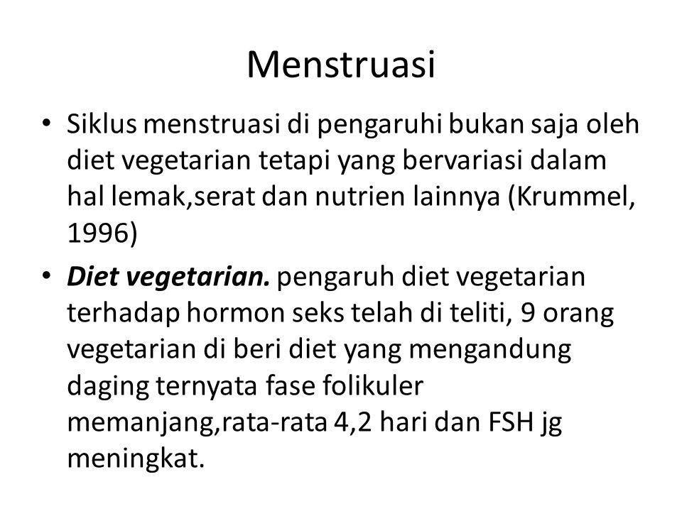 Menstruasi Siklus menstruasi di pengaruhi bukan saja oleh diet vegetarian tetapi yang bervariasi dalam hal lemak,serat dan nutrien lainnya (Krummel, 1