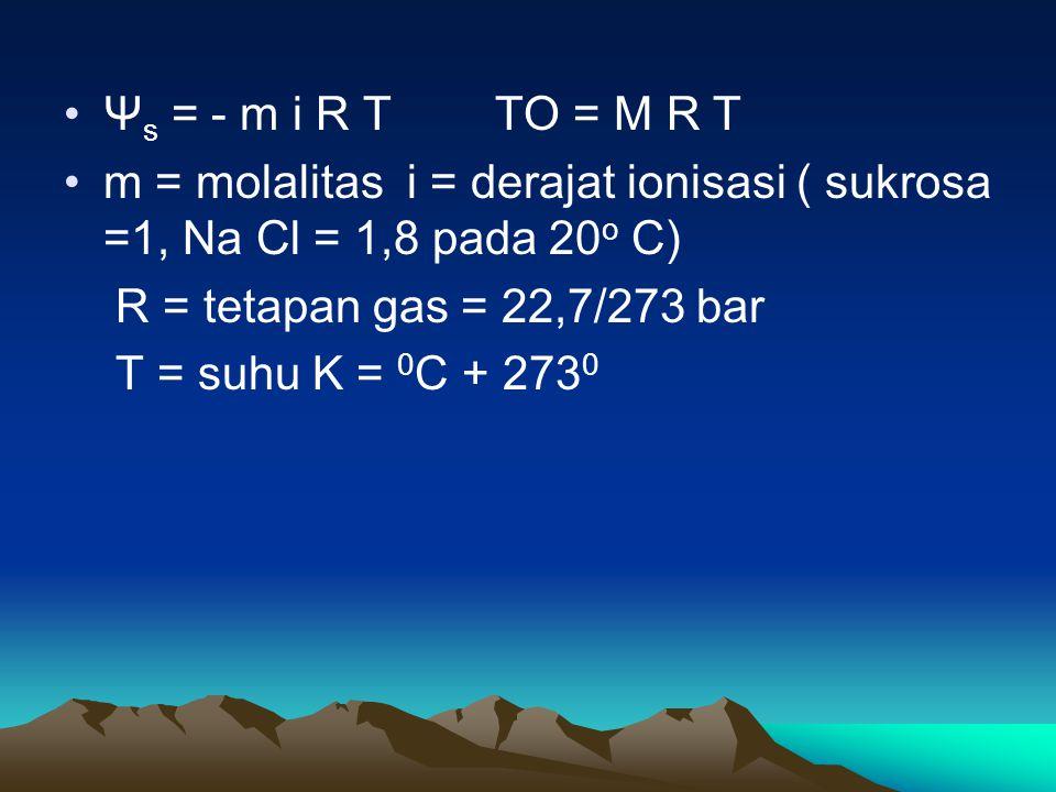 Ψ s = - m i R T TO = M R T m = molalitas i = derajat ionisasi ( sukrosa =1, Na Cl = 1,8 pada 20 o C) R = tetapan gas = 22,7/273 bar T = suhu K = 0 C +