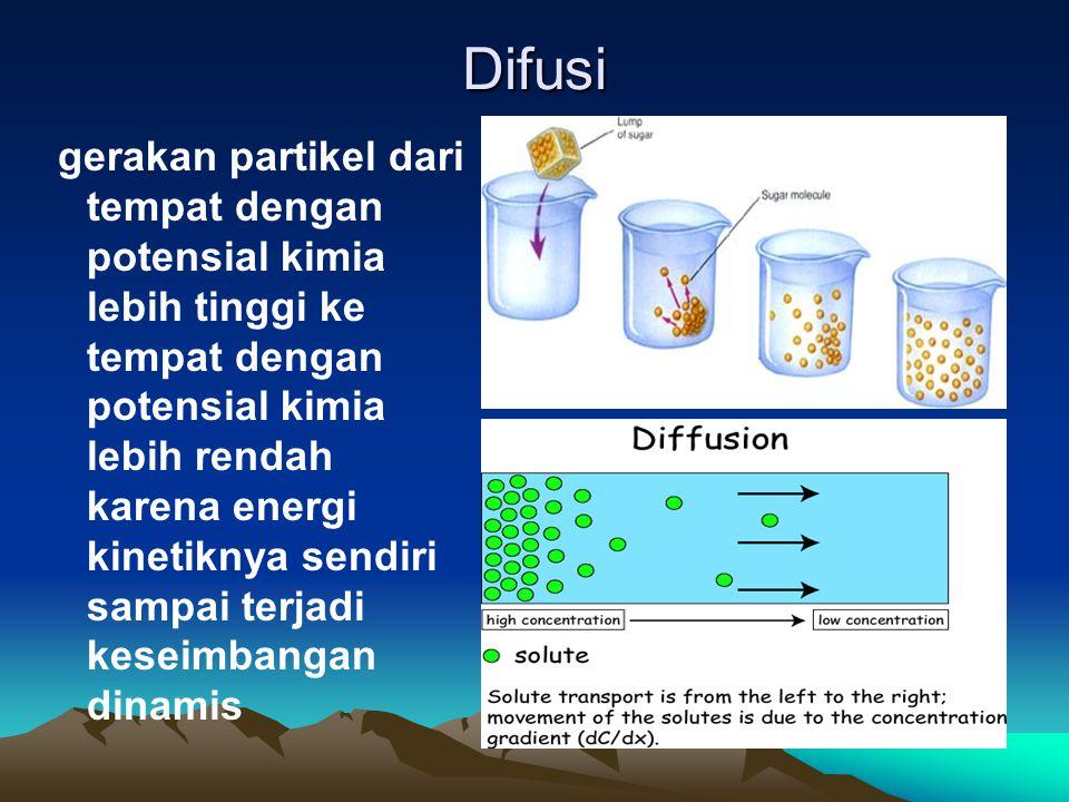 Difusi gerakan partikel dari tempat dengan potensial kimia lebih tinggi ke tempat dengan potensial kimia lebih rendah karena energi kinetiknya sendiri