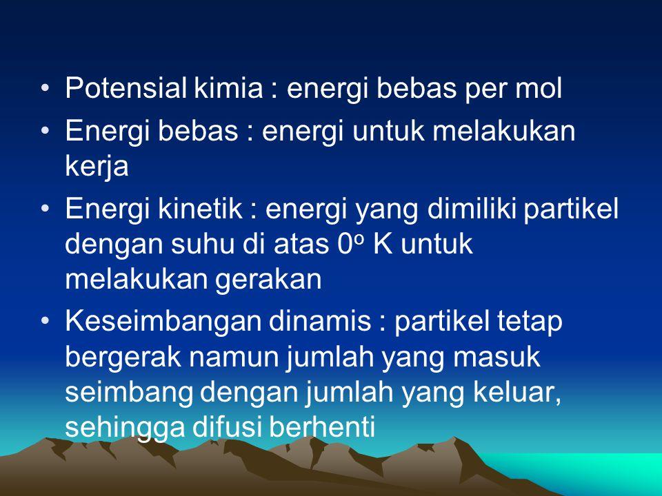 Potensial kimia : energi bebas per mol Energi bebas : energi untuk melakukan kerja Energi kinetik : energi yang dimiliki partikel dengan suhu di atas