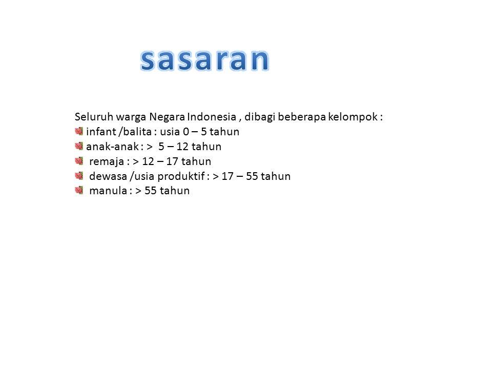 Seluruh warga Negara Indonesia, dibagi beberapa kelompok : infant /balita : usia 0 – 5 tahun anak-anak : > 5 – 12 tahun remaja : > 12 – 17 tahun dewas