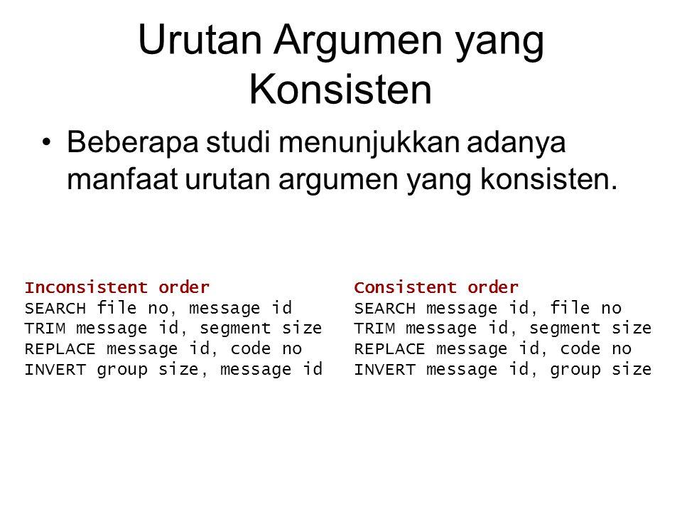 Urutan Argumen yang Konsisten Beberapa studi menunjukkan adanya manfaat urutan argumen yang konsisten. Inconsistent order Consistent order SEARCH file