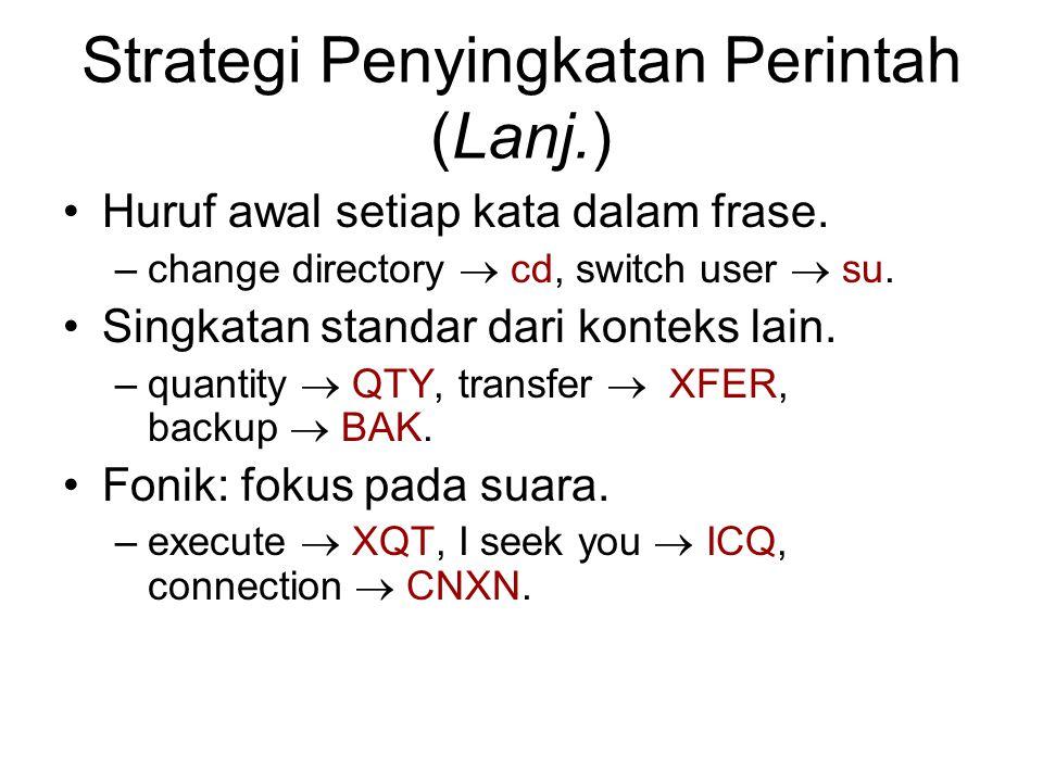 Strategi Penyingkatan Perintah (Lanj.) Huruf awal setiap kata dalam frase. –change directory  cd, switch user  su. Singkatan standar dari konteks la