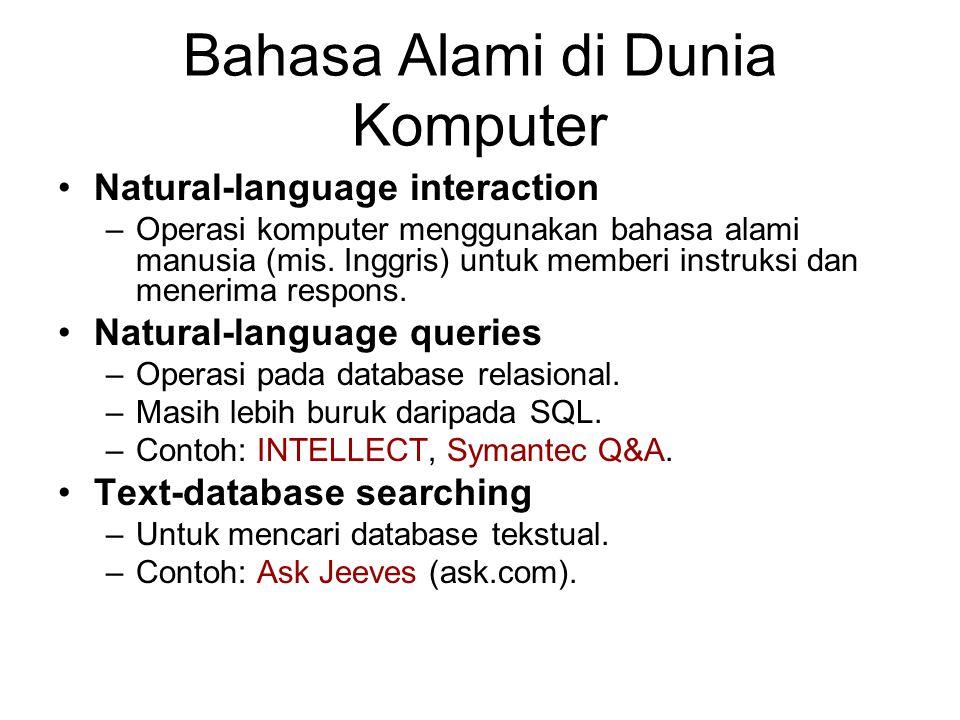 Bahasa Alami di Dunia Komputer Natural-language interaction –Operasi komputer menggunakan bahasa alami manusia (mis. Inggris) untuk memberi instruksi