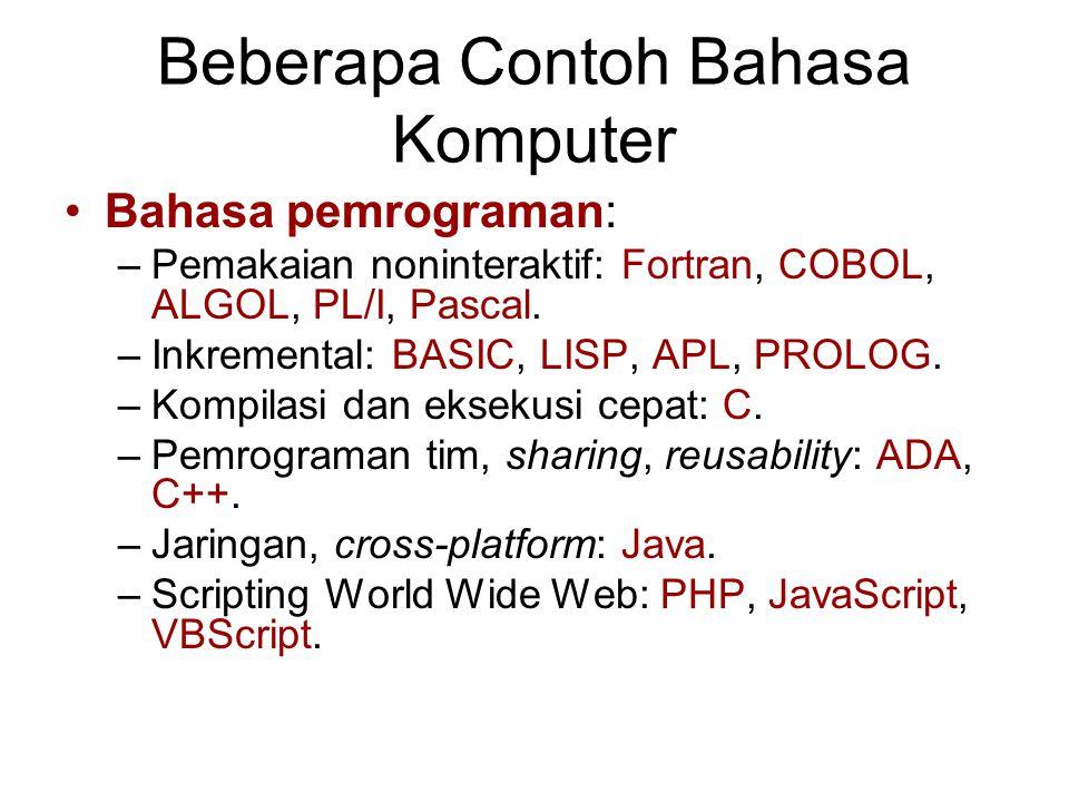 Beberapa Contoh Bahasa Komputer Bahasa pemrograman: –Pemakaian noninteraktif: Fortran, COBOL, ALGOL, PL/I, Pascal. –Inkremental: BASIC, LISP, APL, PRO