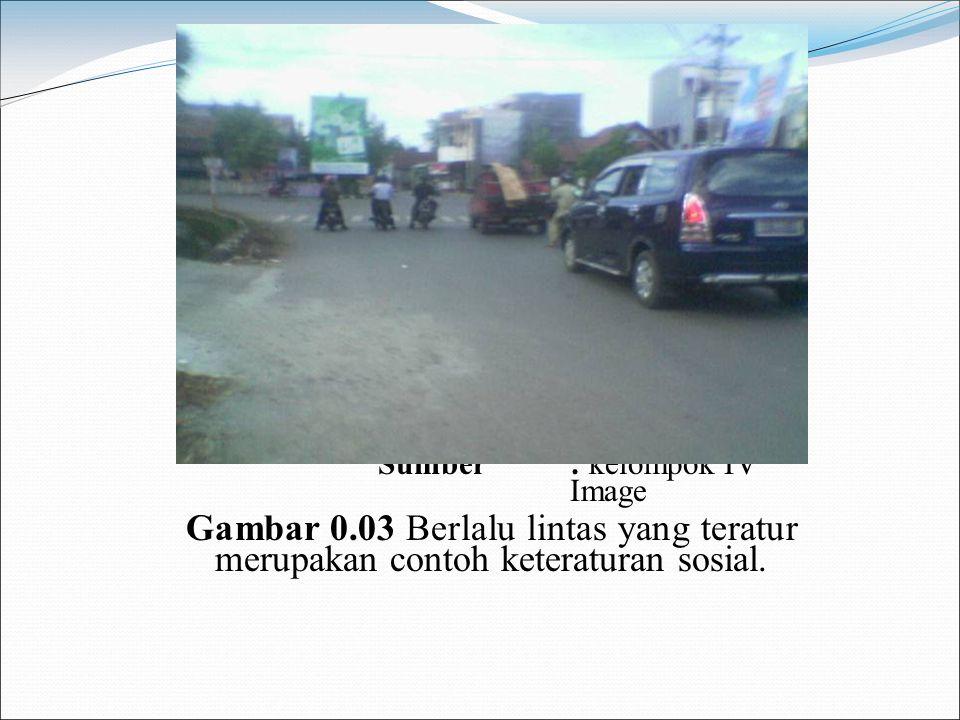 Sumber: kelompok IV Image Gambar 0.03 Berlalu lintas yang teratur merupakan contoh keteraturan sosial.