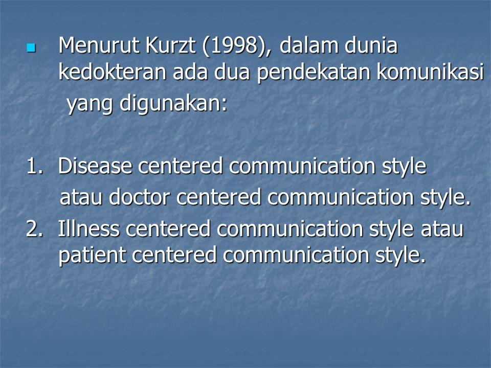 Menurut Kurzt (1998), dalam dunia kedokteran ada dua pendekatan komunikasi Menurut Kurzt (1998), dalam dunia kedokteran ada dua pendekatan komunikasi