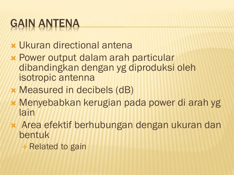  Ukuran directional antena  Power output dalam arah particular dibandingkan dengan yg diproduksi oleh isotropic antenna  Measured in decibels (dB)  Menyebabkan kerugian pada power di arah yg lain  Area efektif berhubungan dengan ukuran dan bentuk  Related to gain