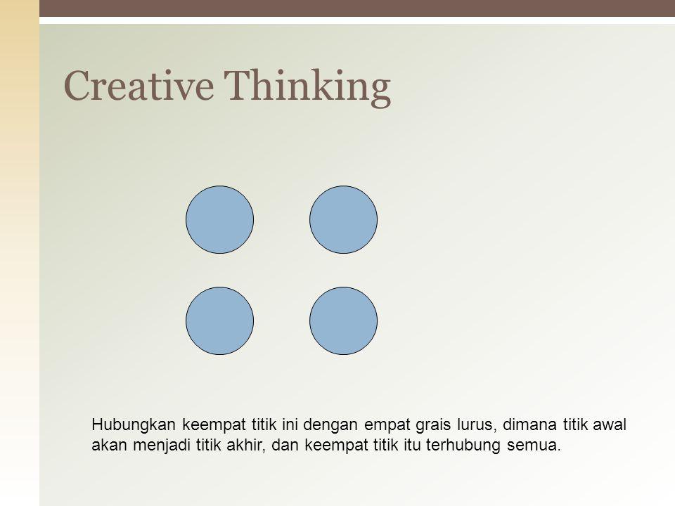 Creative Thinking Hubungkan keempat titik ini dengan empat grais lurus, dimana titik awal akan menjadi titik akhir, dan keempat titik itu terhubung se