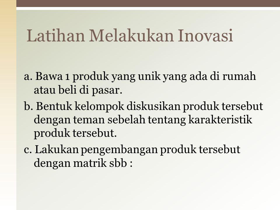 Matrik Inovasi TambahKurangTiruRubahKombinasi Produk Proses Promosi Model Bisnis