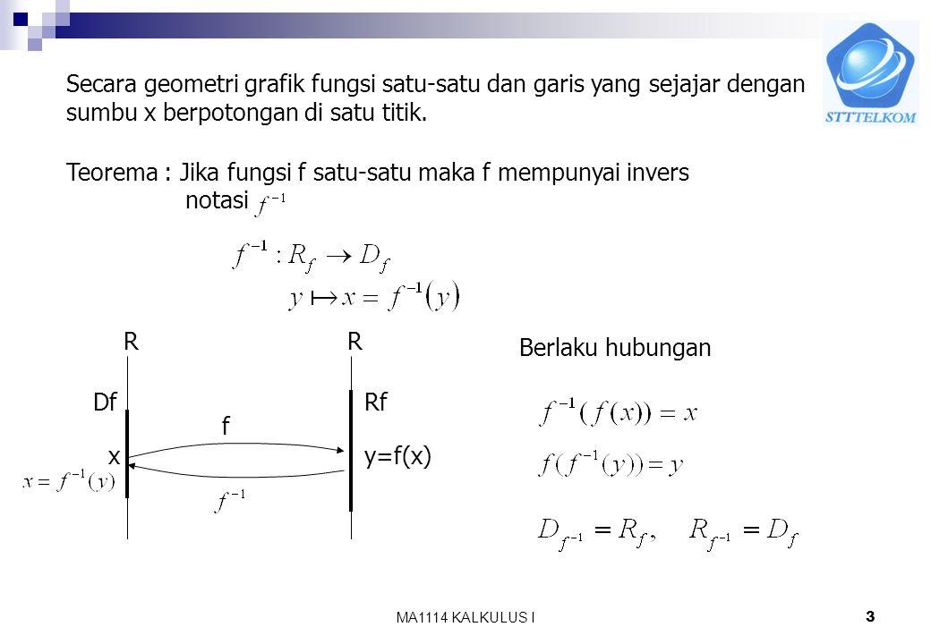 MA1114 KALKULUS I2 8.1 Fungsi Invers Misalkan dengan Definisi 8.1 Fungsi y = f(x) disebut satu-satu jika f(u) = f(v) maka u = v atau jika maka fungsi
