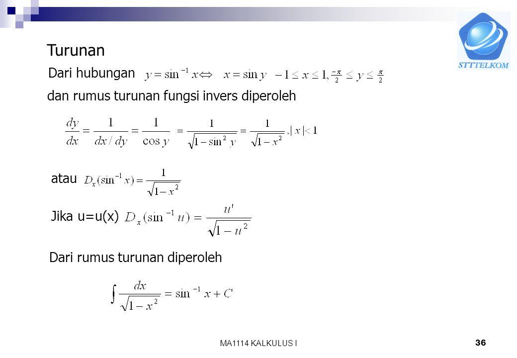 MA1114 KALKULUS I35 8.7 Fungsi Invers Trigonometri Fungsi trigonometri adalah fungsi yang periodik sehingga tidak satu-satu, jika daerah asalnya dibat