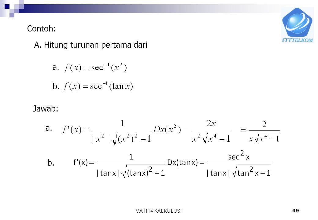 MA1114 KALKULUS I48 Turunan Dari Sehingga Jika u = u(x)